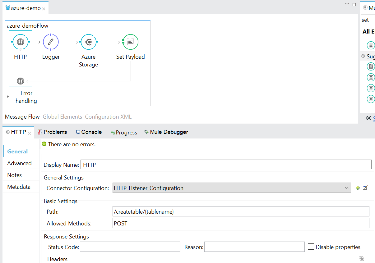 Create Table in Azure