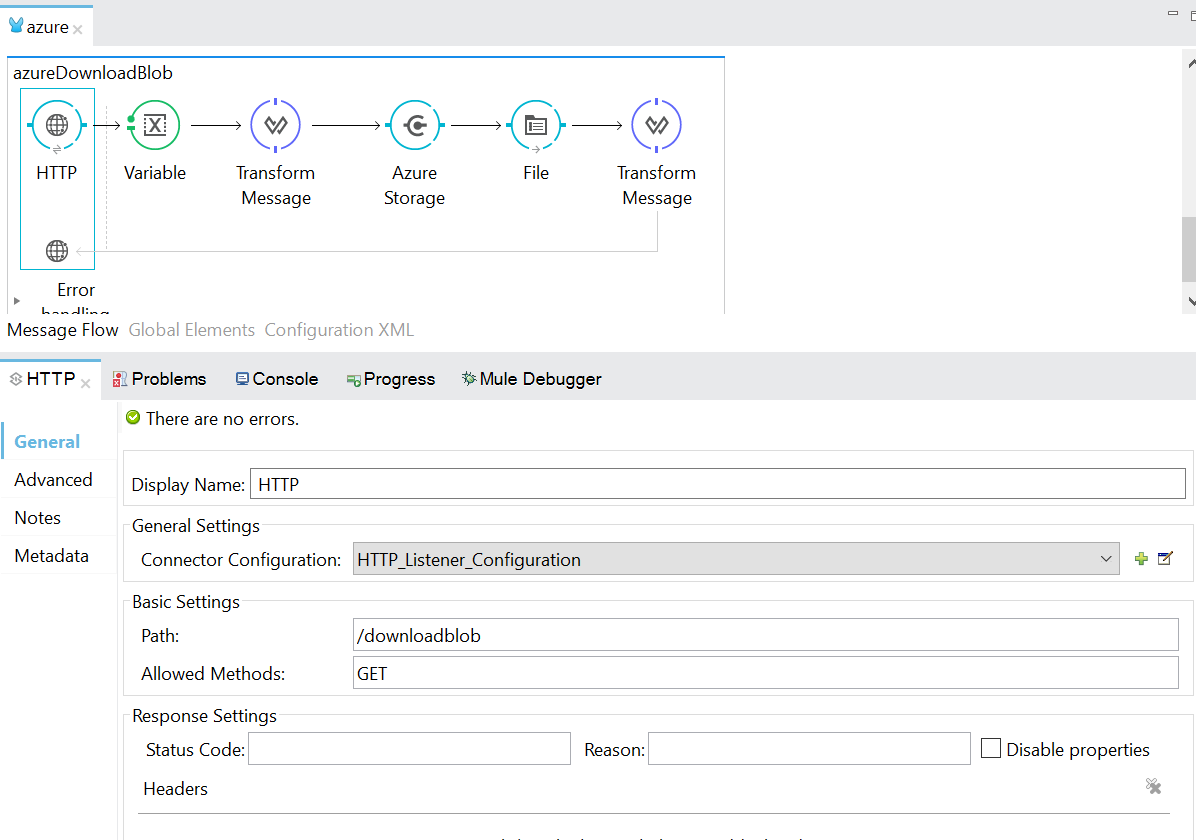 Download BLOB message from Azure Container