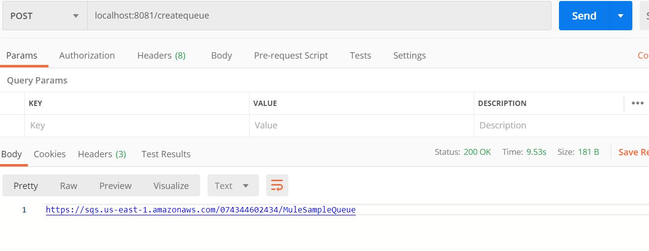 Create Queue Using AWS SQS Conenctor In Mule