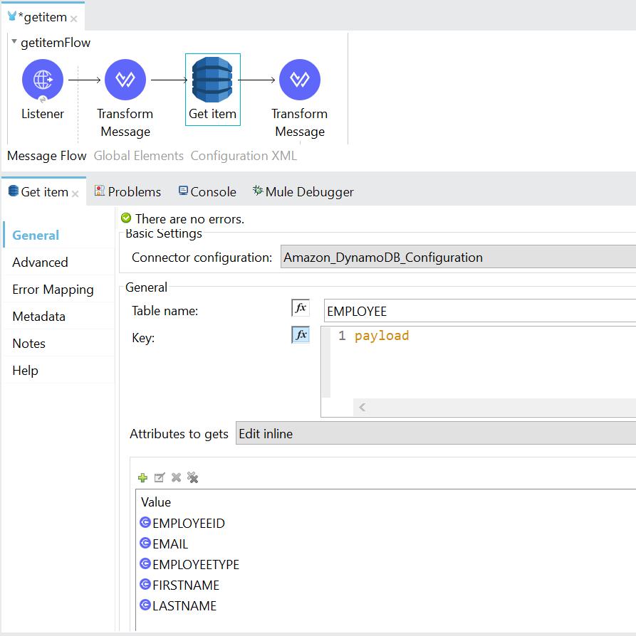 Retrieve Data From Dynamo DB Using Dynamo DB Connector In Mule