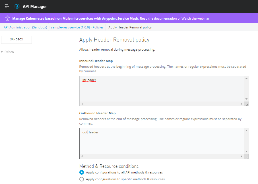 Header Removal Policy In Mule