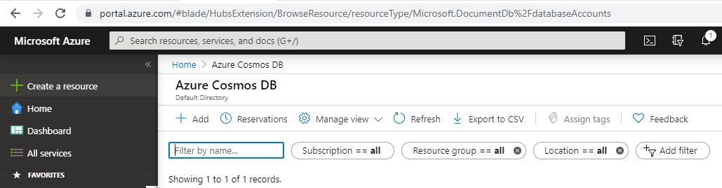 Create Cosmos DB in Azure