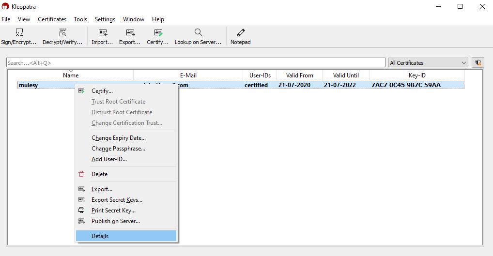 Generate Private Public PGP key
