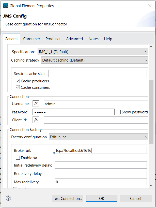 JMS connector Mule 4 with ActiveMQ