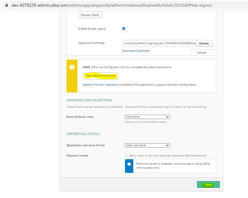 SSO using OKTA SAML in Anypoint Platform